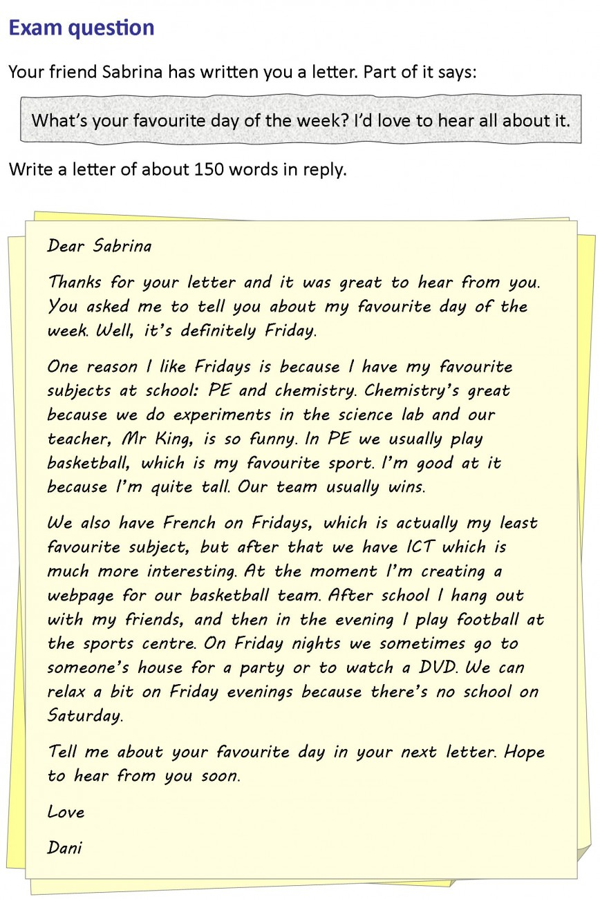 001 Essay Example Letter To A Friend Writing On Examination Rare Day