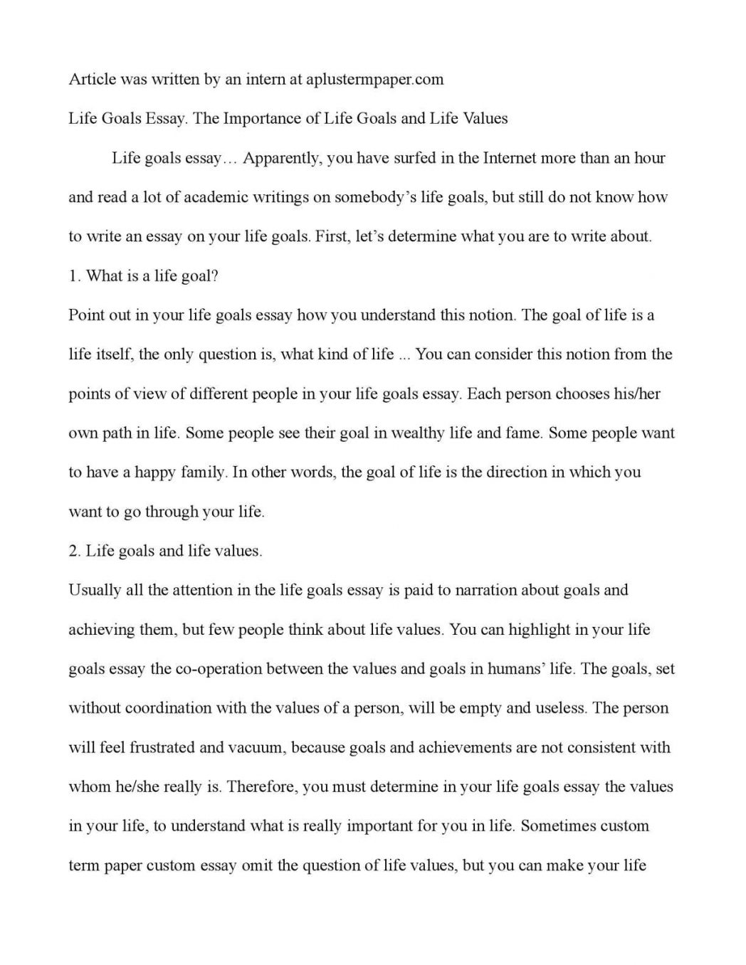 essay on personal goals for college
