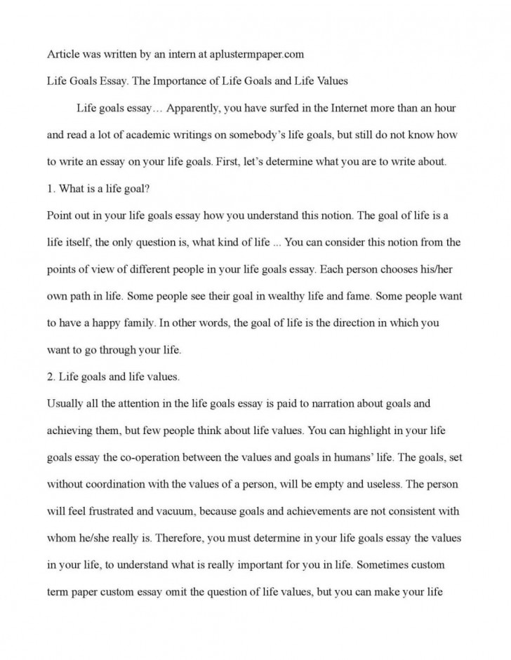 001 Essay Example Life Goals Narrative On Achieving Goal My Purpose In Exampl Examples Ambition Stunning A 728