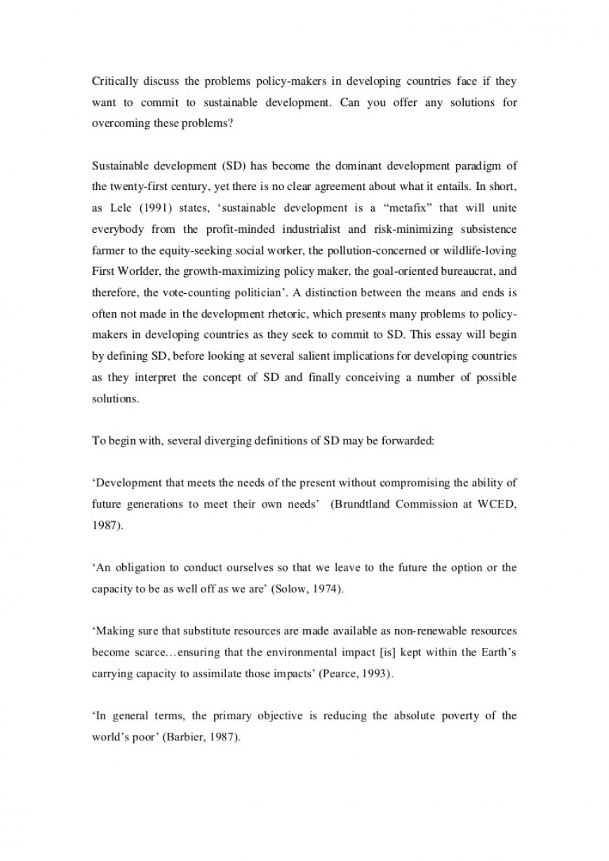 001 Essay Example Lva1 App6891 Thumbnail On Sustainable Development And Shocking Environment Conservation