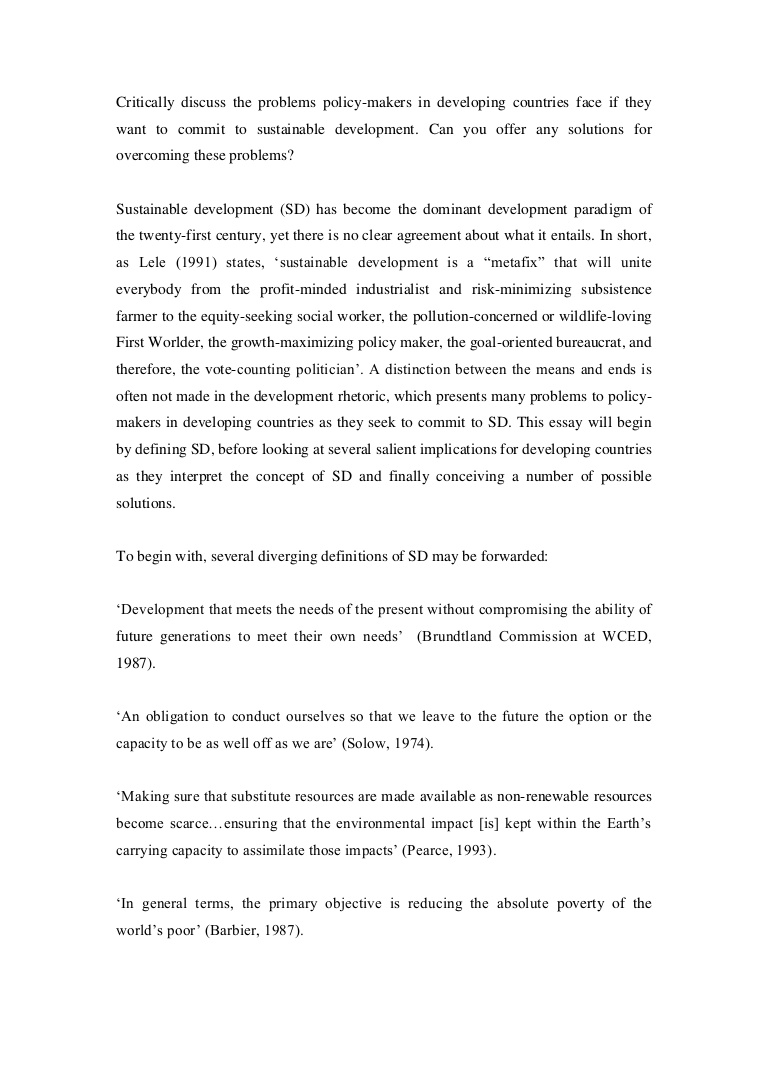 001 Essay Example Lva1 App6891 Thumbnail On Sustainable Development And Shocking Environment Conservation Full