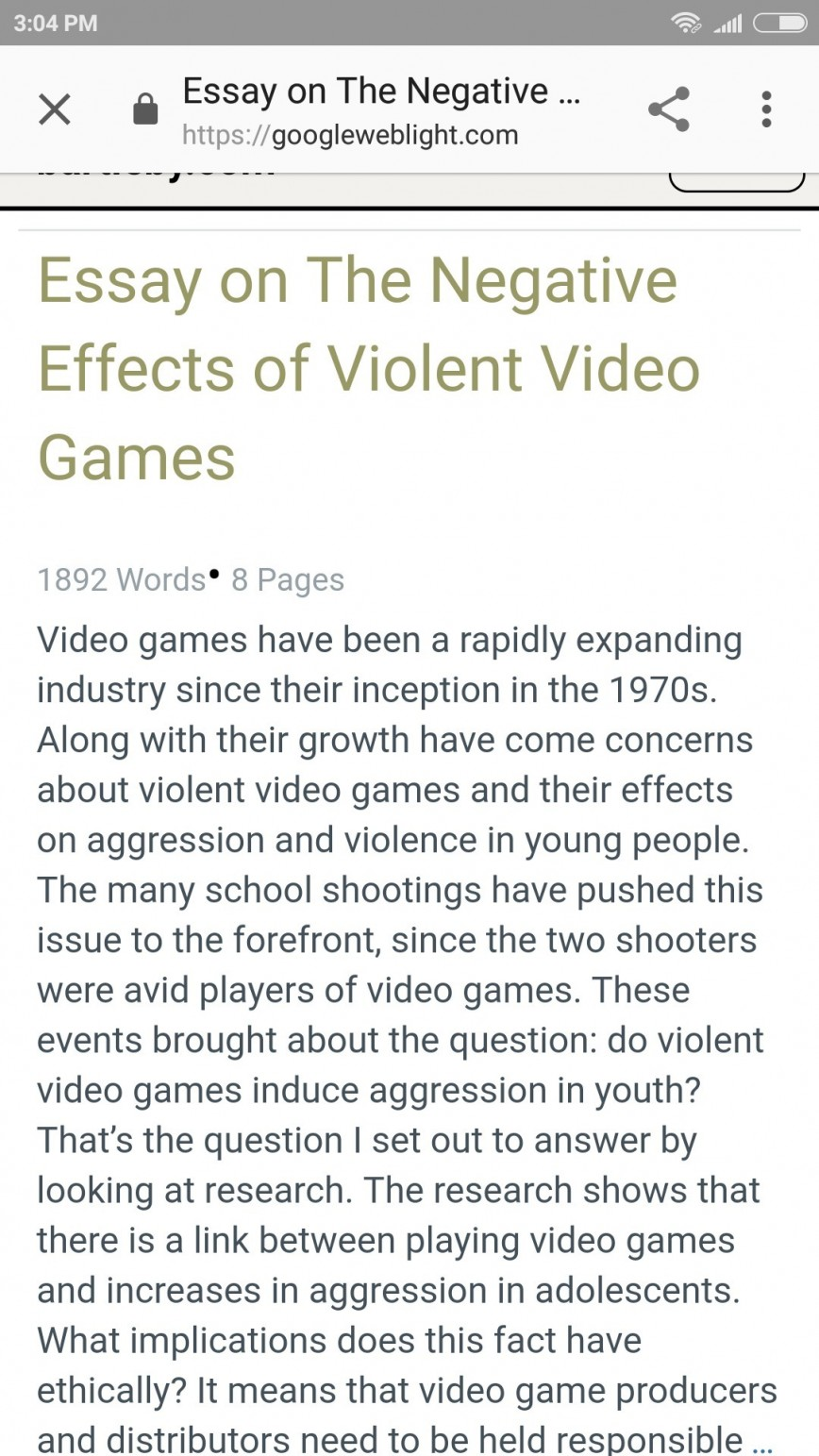 001 Essay Example Negative Effects Of Video Games Top Spm Positive And Pdf