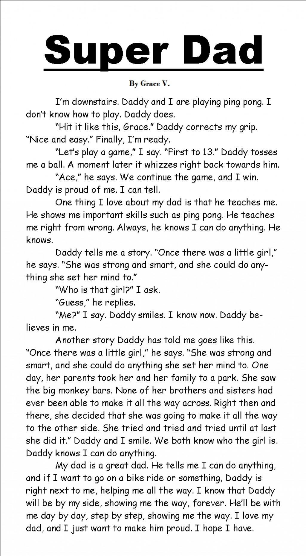 001 Essay Example On Outstanding Father Fatherhood And Mother Motherhood Large
