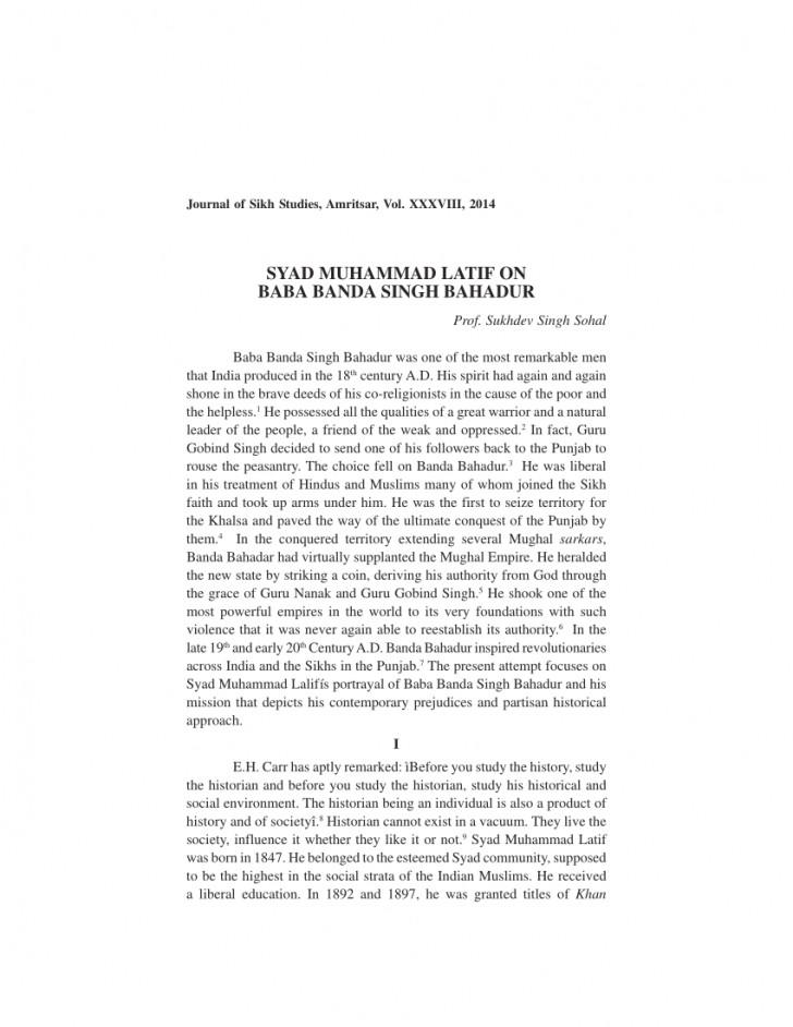 001 Essay Example On Banda Singh Bahadur In Punjabi Formidable Baba Language 728