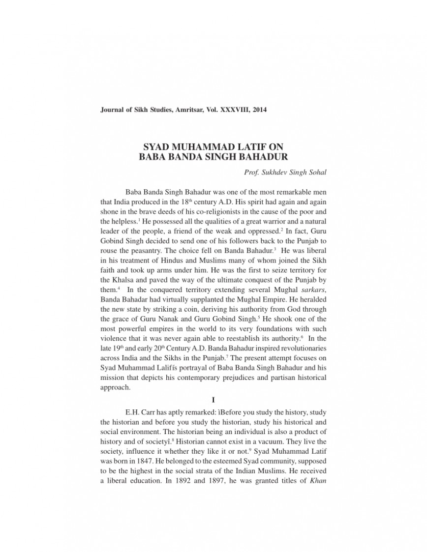 001 Essay Example On Banda Singh Bahadur In Punjabi Formidable Baba Language 868