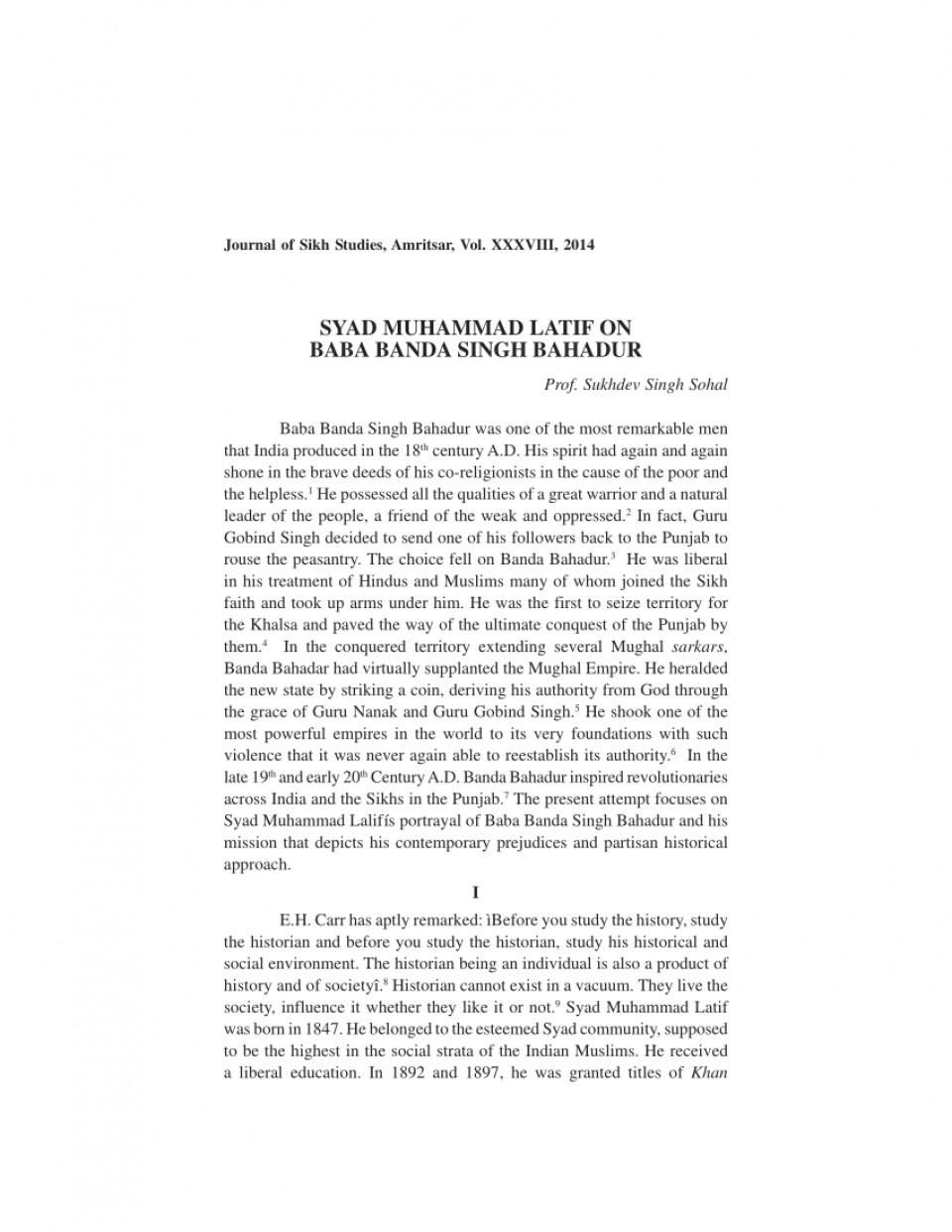001 Essay Example On Banda Singh Bahadur In Punjabi Formidable Baba Language 960