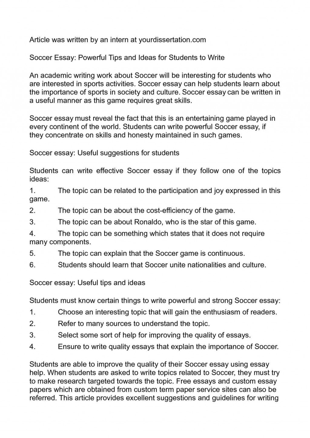 001 Essay Example P1 About Unusual Soccer Conclusion Field Large