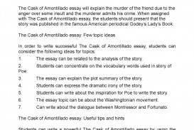 001 Essay Example P1 The Cask Of Unforgettable Amontillado Prompts Discussion Questions Quizlet Topics