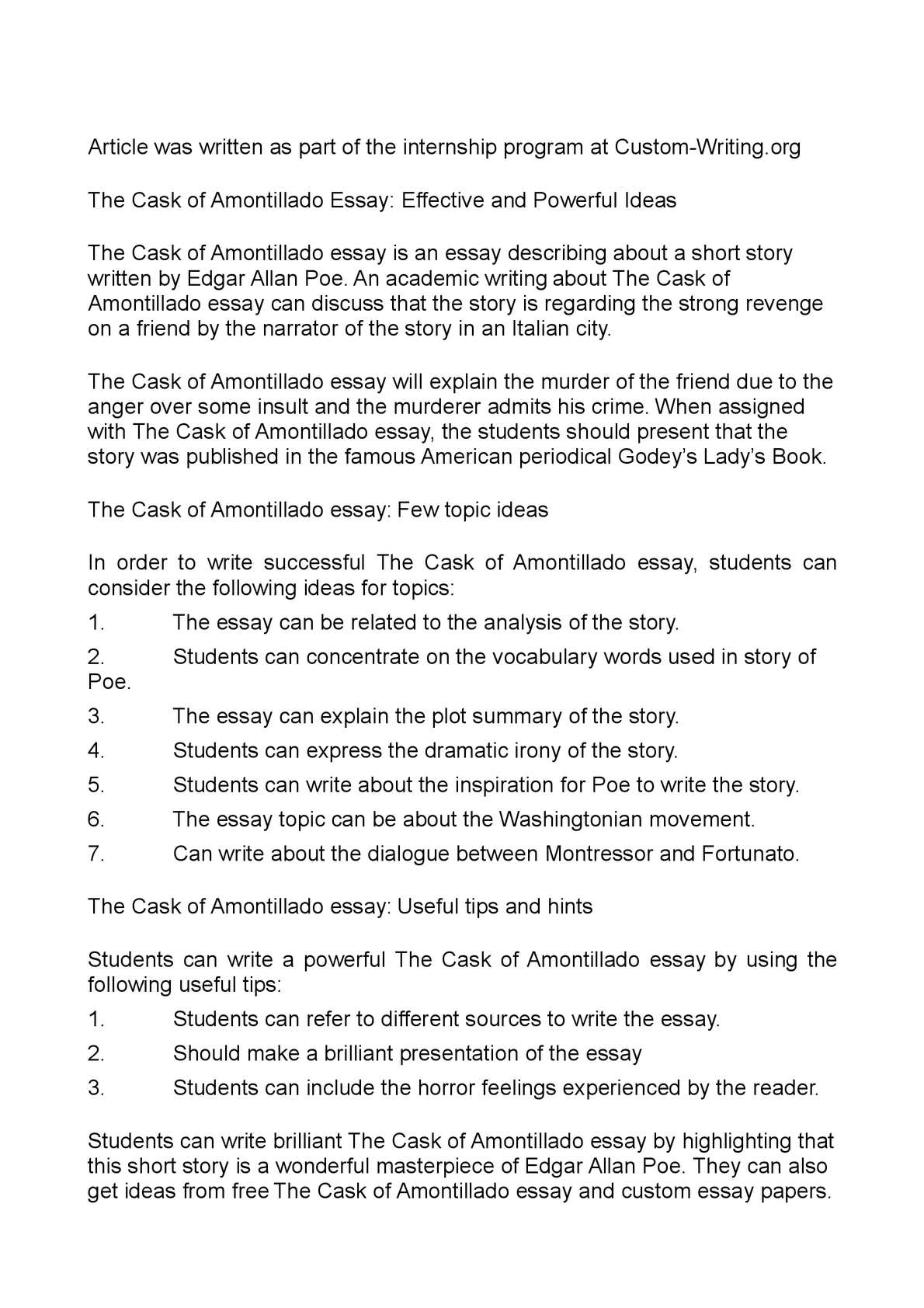 001 Essay Example P1 The Cask Of Unforgettable Amontillado Outline Prompts Topics Full