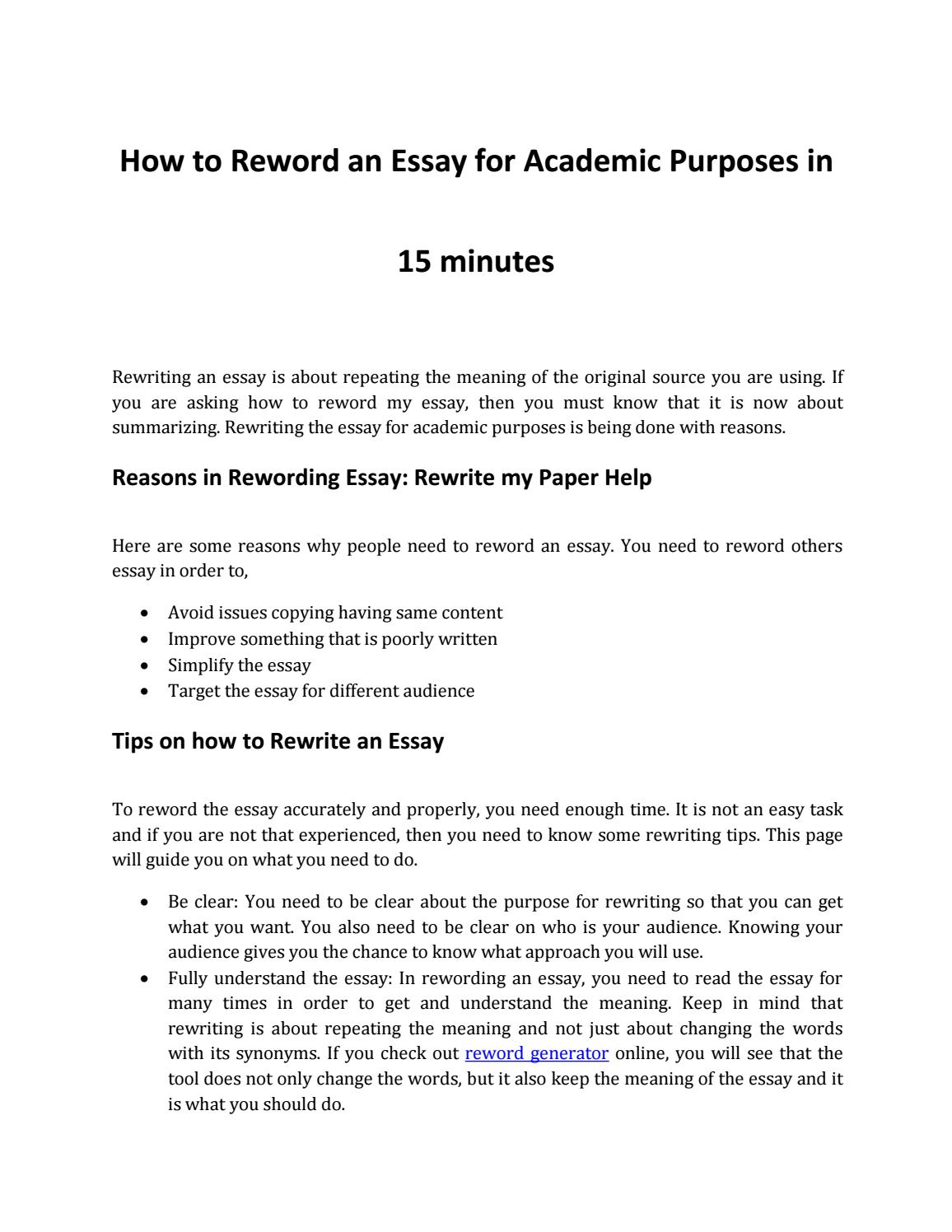 001 Essay Example Page 1 Amazing Reword Generator Free Full