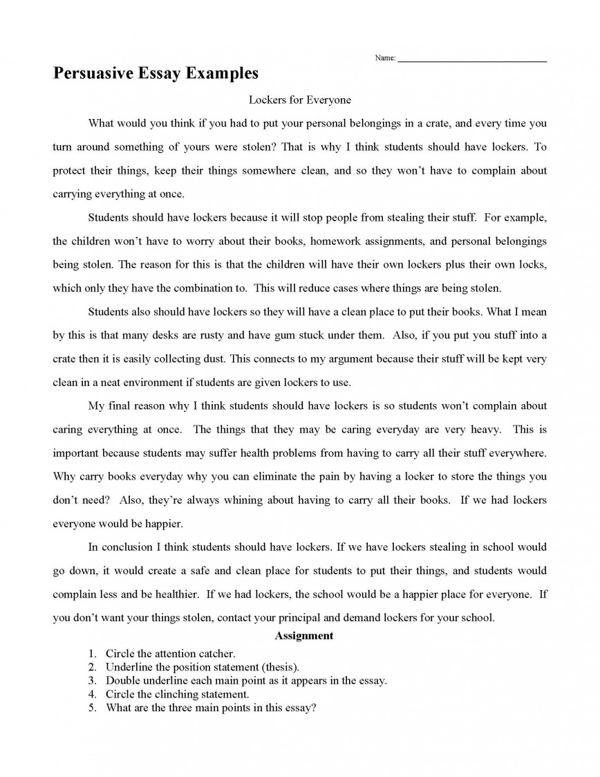 001 Essay Example Persuasive Examples How To Write Outstanding A High School Thesis In Spanish 868