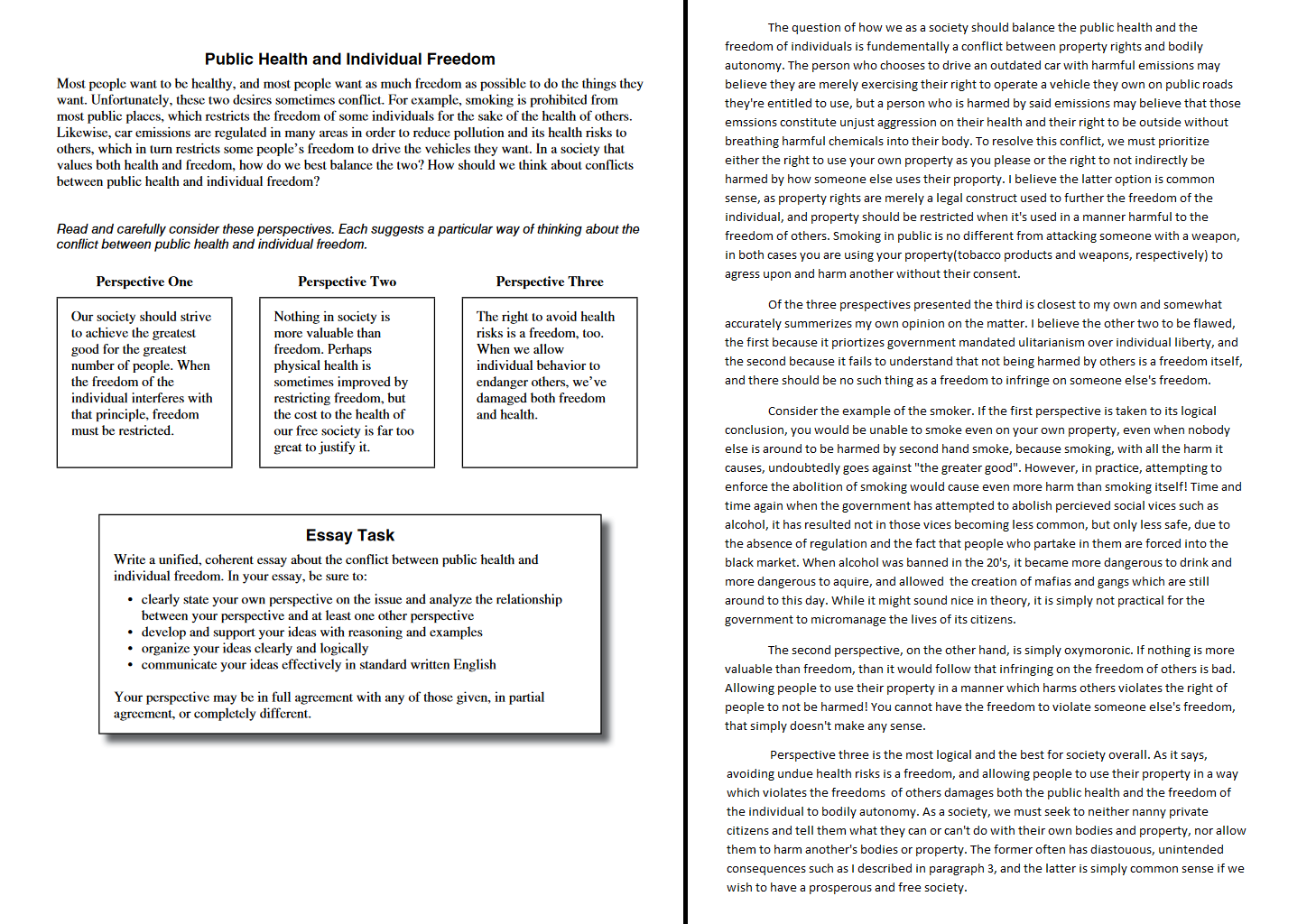 001 Essay Example Public Health And Individual Freedom Act Examples Dreaded Full