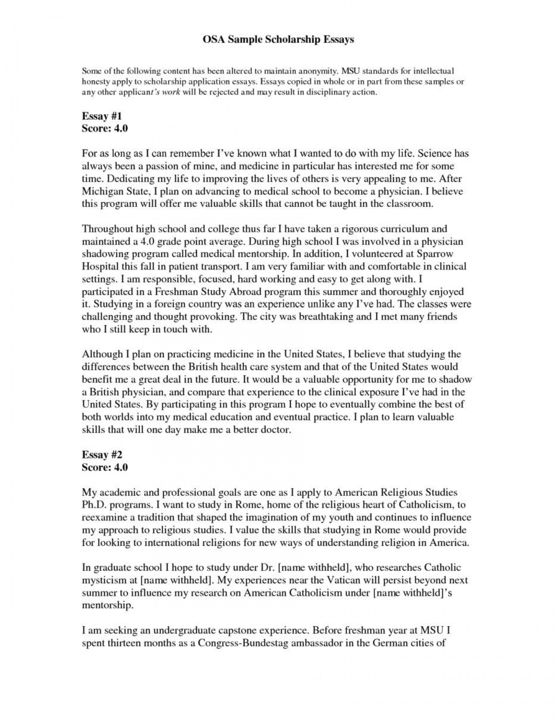 001 Essay Example Scholarship Application Surprising Examples Mba College About Yourself 1920