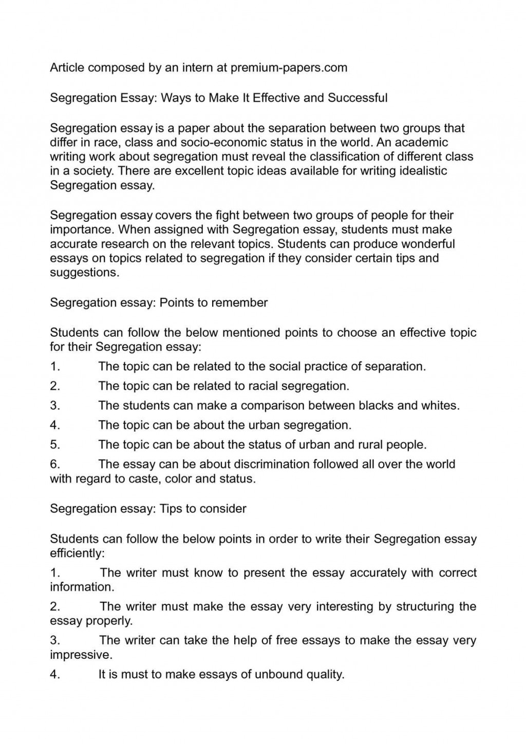 001 Essay Example Segregation Unusual Gender Segregated Schools Occupational On Importance Of Waste At Source Large