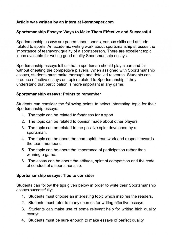 001 Essay Example Sportsmanship Shocking Ideas Pdf In Hindi Large