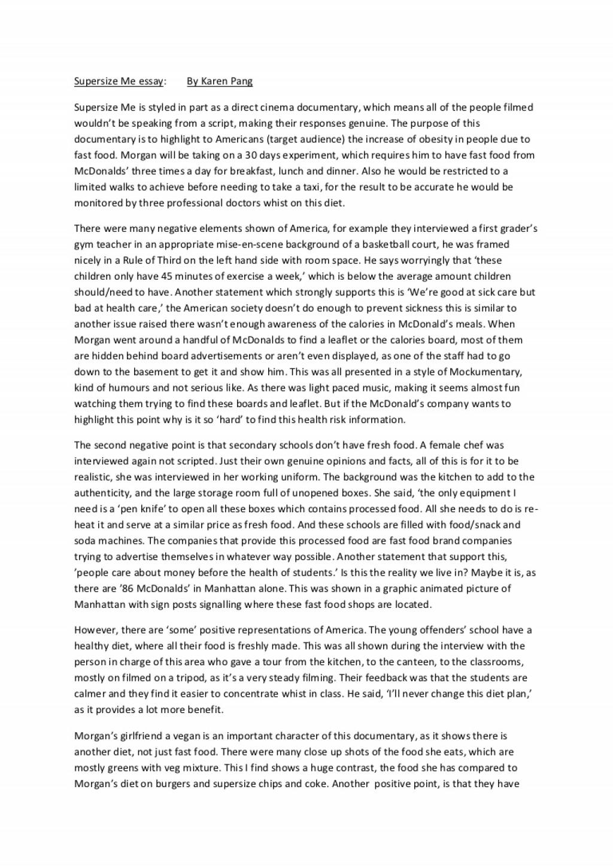 001 Essay Example Supersizemeessay Phpapp02 Thumbnail Supersize Stupendous Me Fathead Vs Super Size Conclusion Summary Large