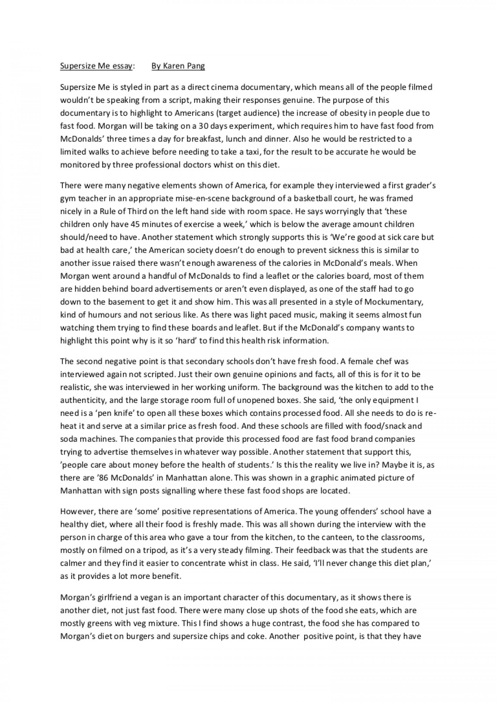 001 Essay Example Supersizemeessay Phpapp02 Thumbnail Supersize Stupendous Me Fathead Vs Super Size Conclusion Summary 1920
