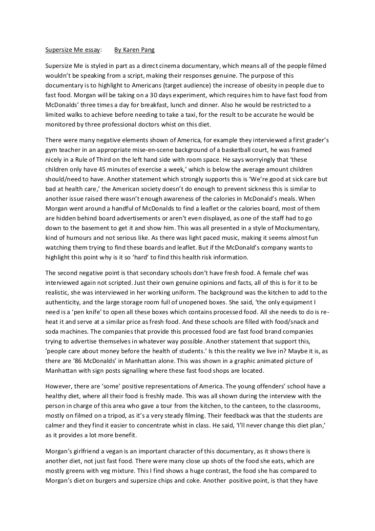 001 Essay Example Supersizemeessay Phpapp02 Thumbnail Supersize Stupendous Me Fathead Vs Super Size Conclusion Summary Full