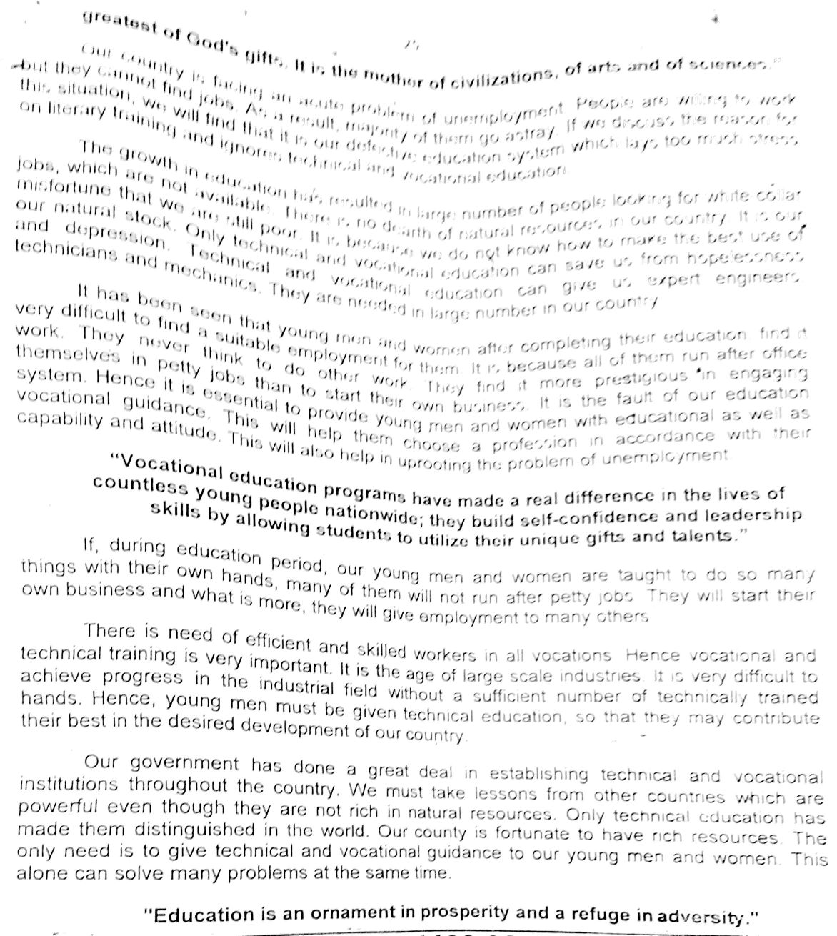 essay on importance of technical education for class 9