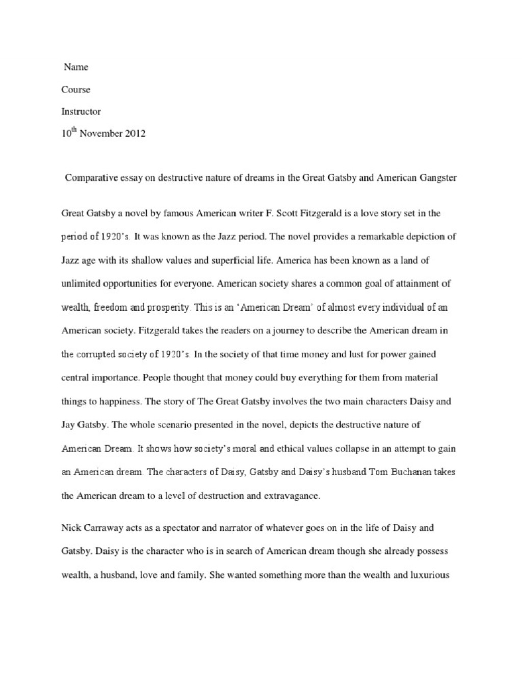 001 Essay Example The American Dream In Great Gatsby Comparative On Destructive Nature Of Dreams  5884869ab6d87f259b8b49e2 Rare Corruption DeclineLarge
