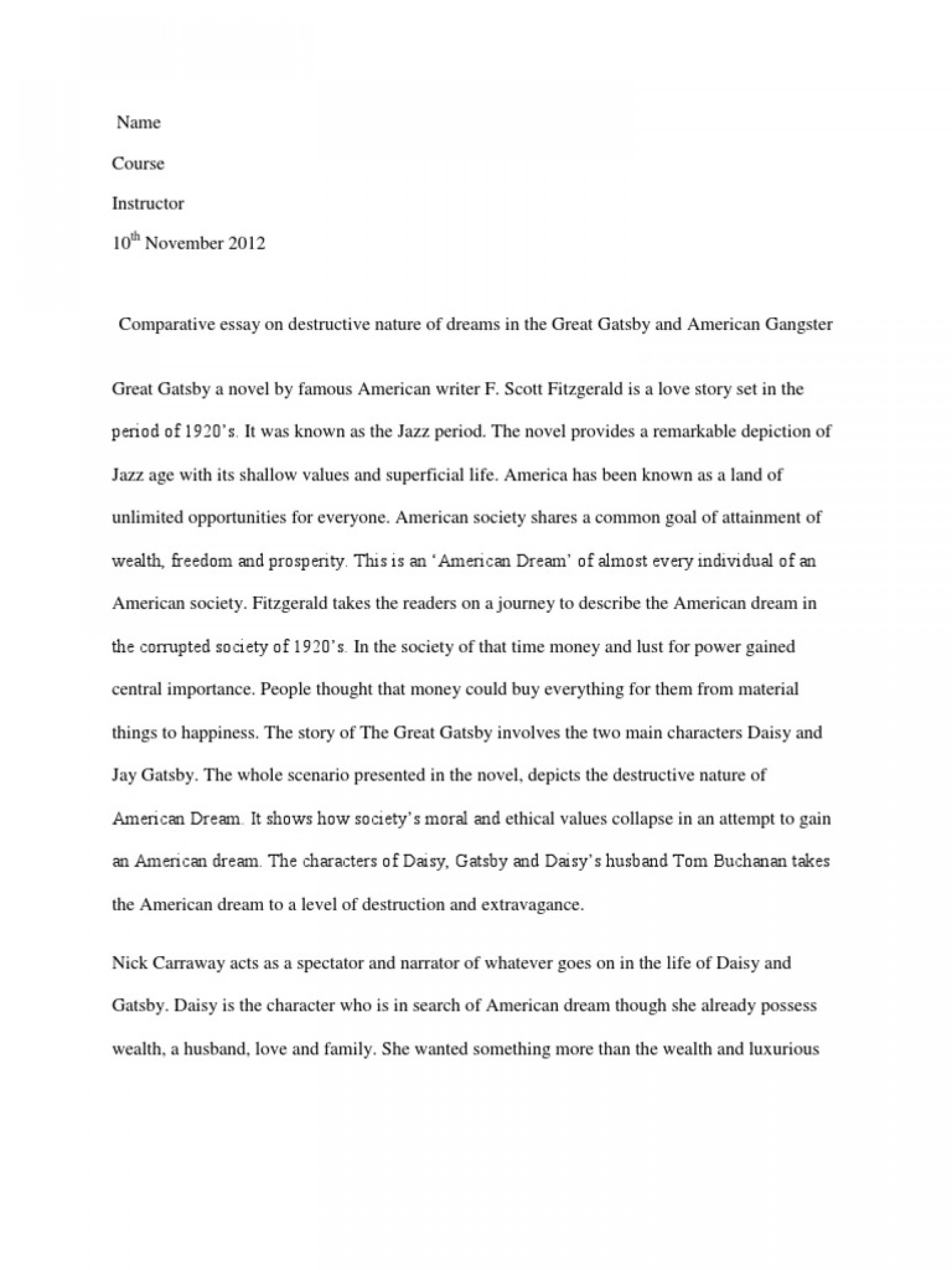 001 Essay Example The American Dream In Great Gatsby Comparative On Destructive Nature Of Dreams  5884869ab6d87f259b8b49e2 Rare Corruption Decline1920
