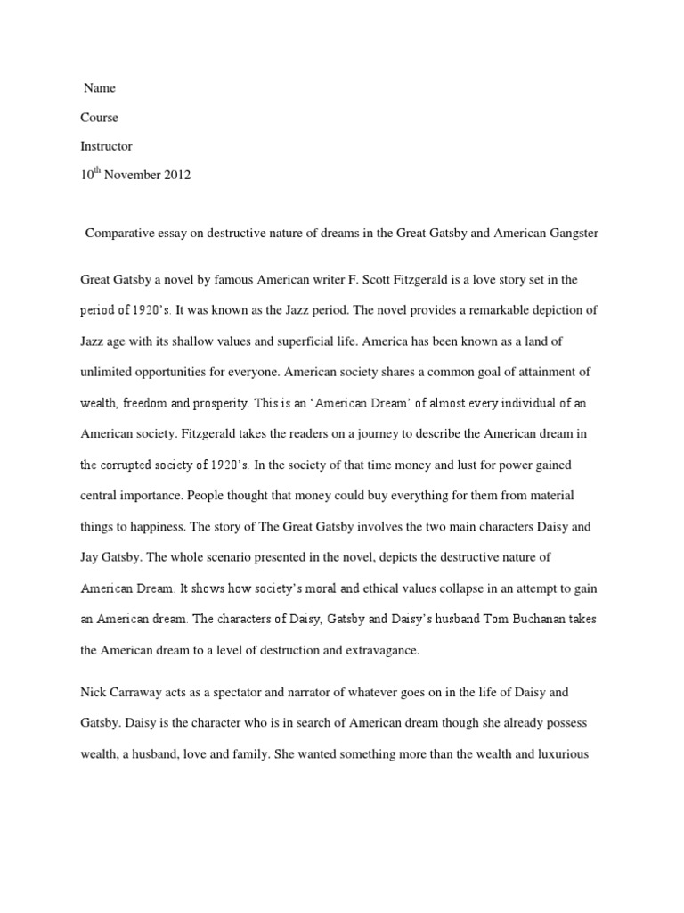 001 Essay Example The American Dream In Great Gatsby Comparative On Destructive Nature Of Dreams  5884869ab6d87f259b8b49e2 Rare Corruption DeclineFull