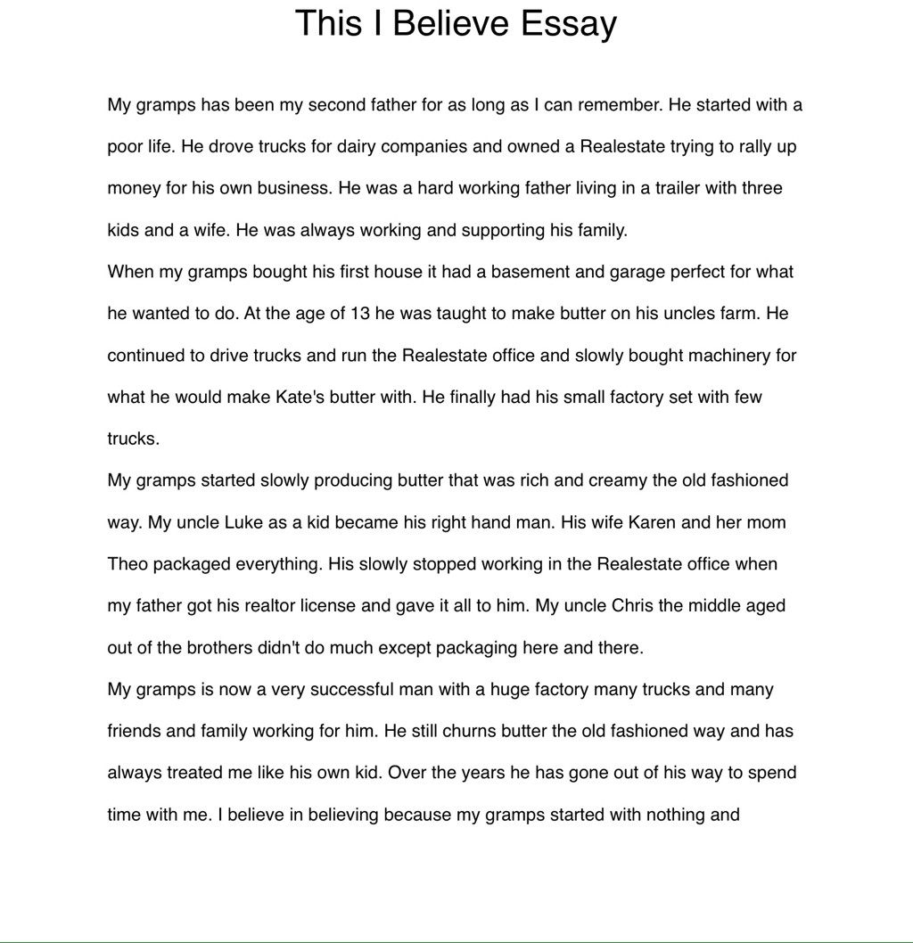 001 Essay Example This I Believe Examples Professional Resume Templates High Stupendous Personal College Large