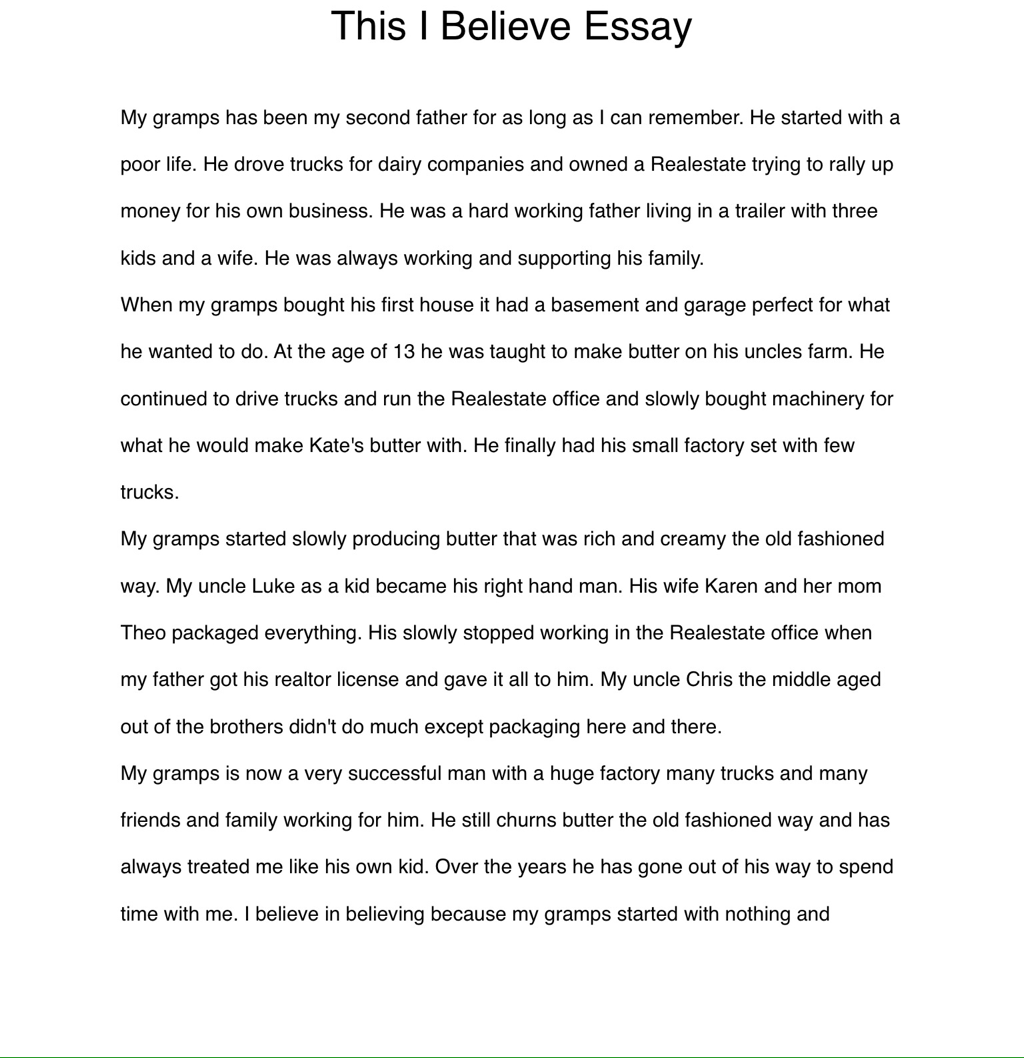 001 Essay Example This I Believe Examples Professional Resume Templates High Stupendous Personal College Full