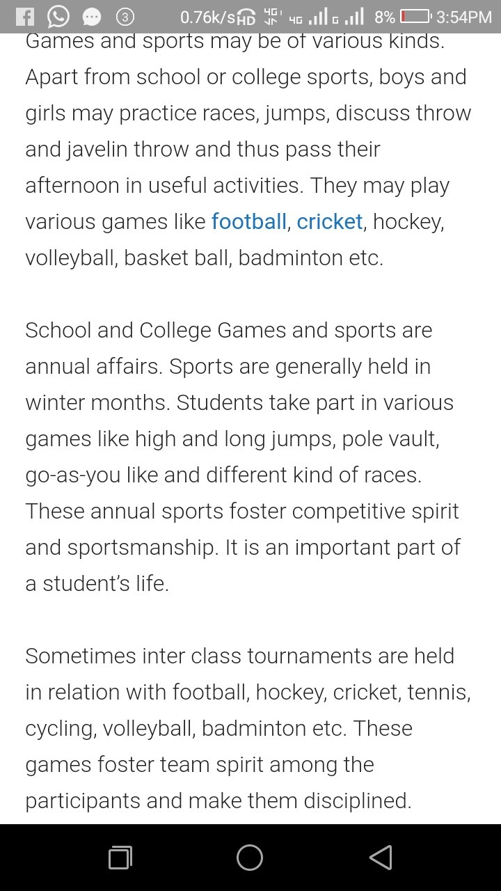 essay writing on value of games and sports