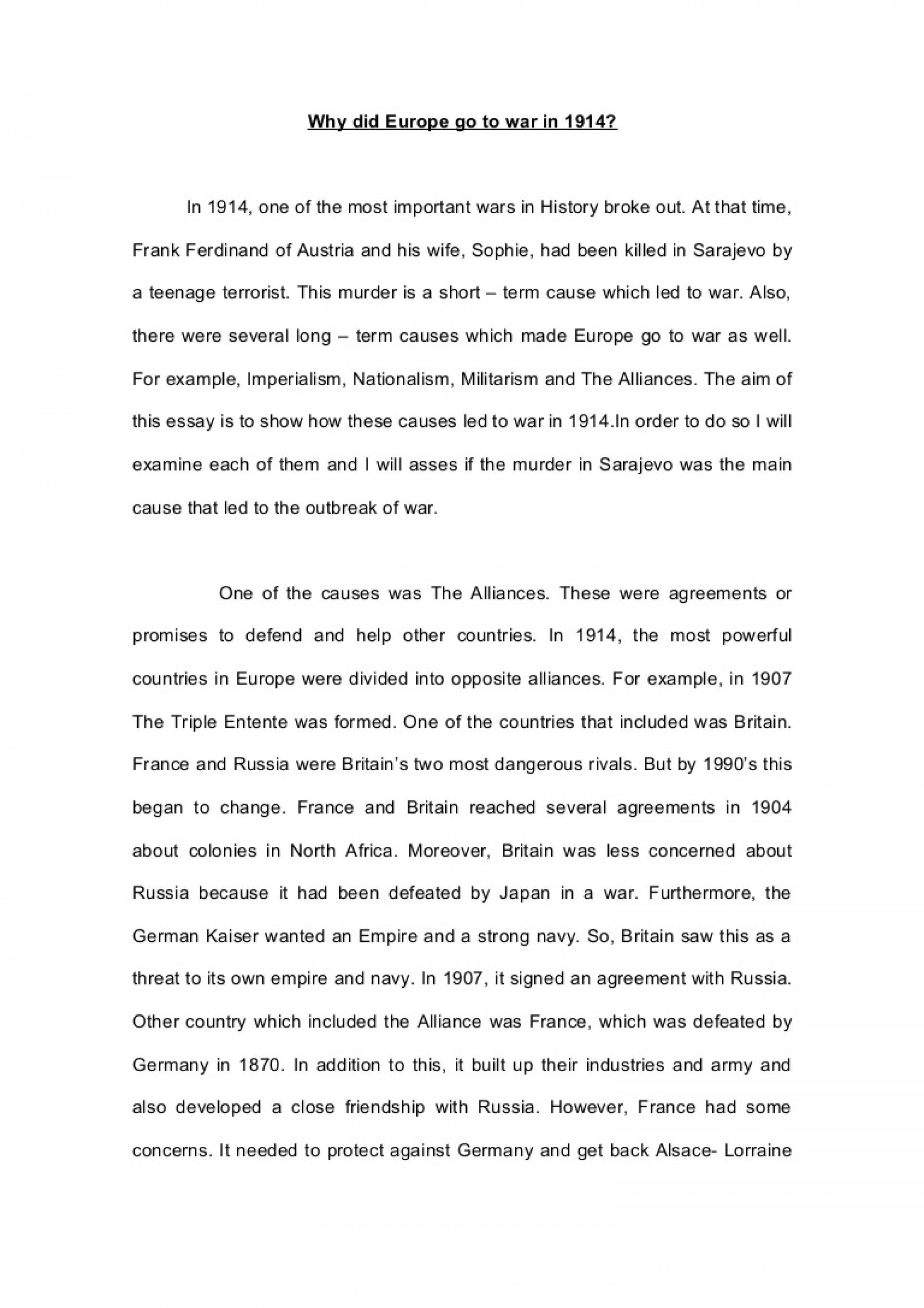 001 Essay Example Ww1 Whydideuropegotowarin1914essay Phpapp01 Thumbnail Impressive World War 1 Causes Conclusion Topics 1920