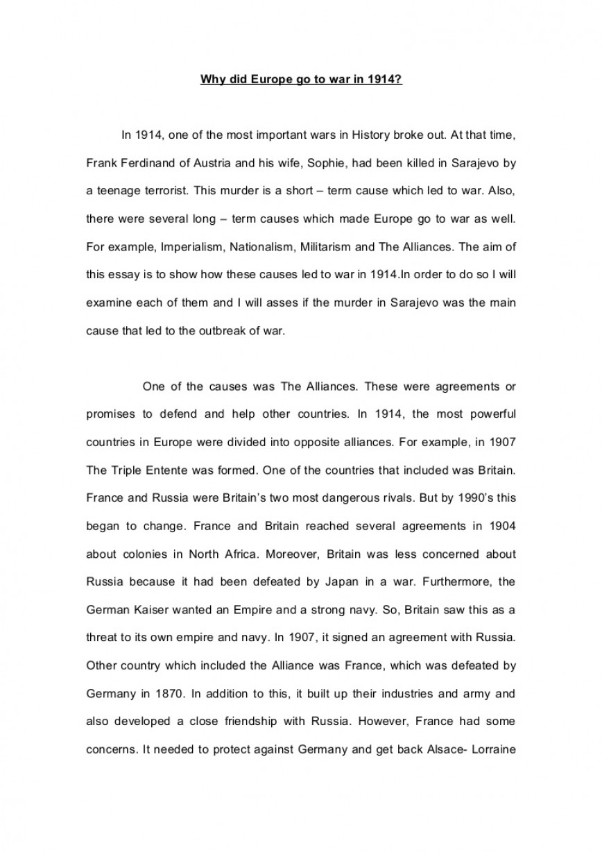001 Essay Example Ww1 Whydideuropegotowarin1914essay Phpapp01 Thumbnail Impressive World War 1 Paper Topics Causes Conclusion