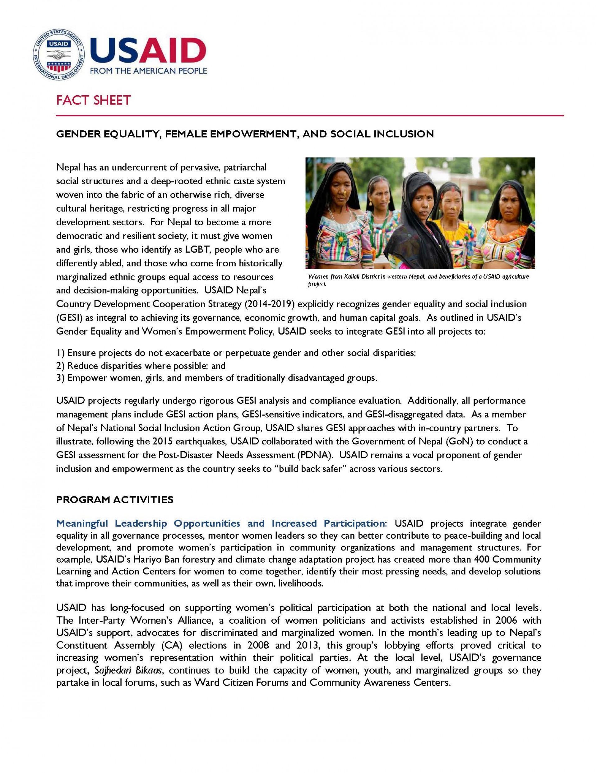 001 Essay On Gender Discrimination In Nepal Final Gesi Factsheet Page 1 2 Incredible 1920