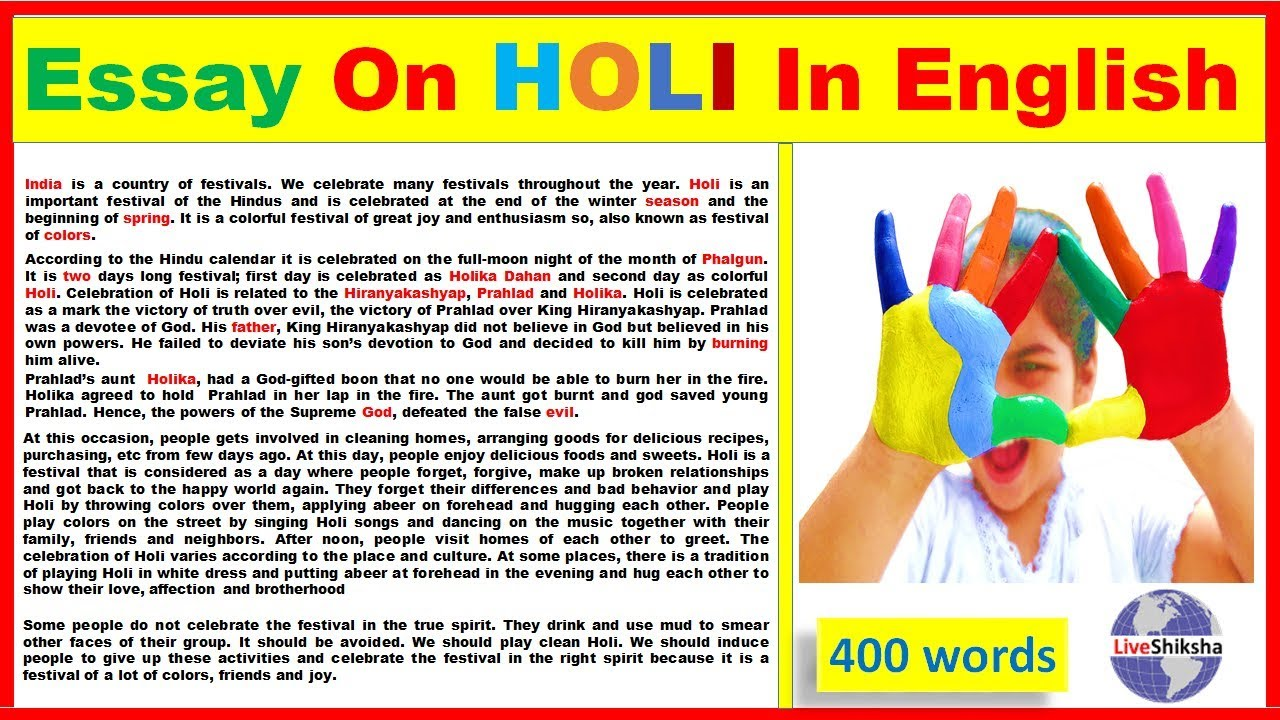 001 Essay On Holi Example Impressive Holidays Are Necessary Evils In Gujarati Festival Punjabi Language Full