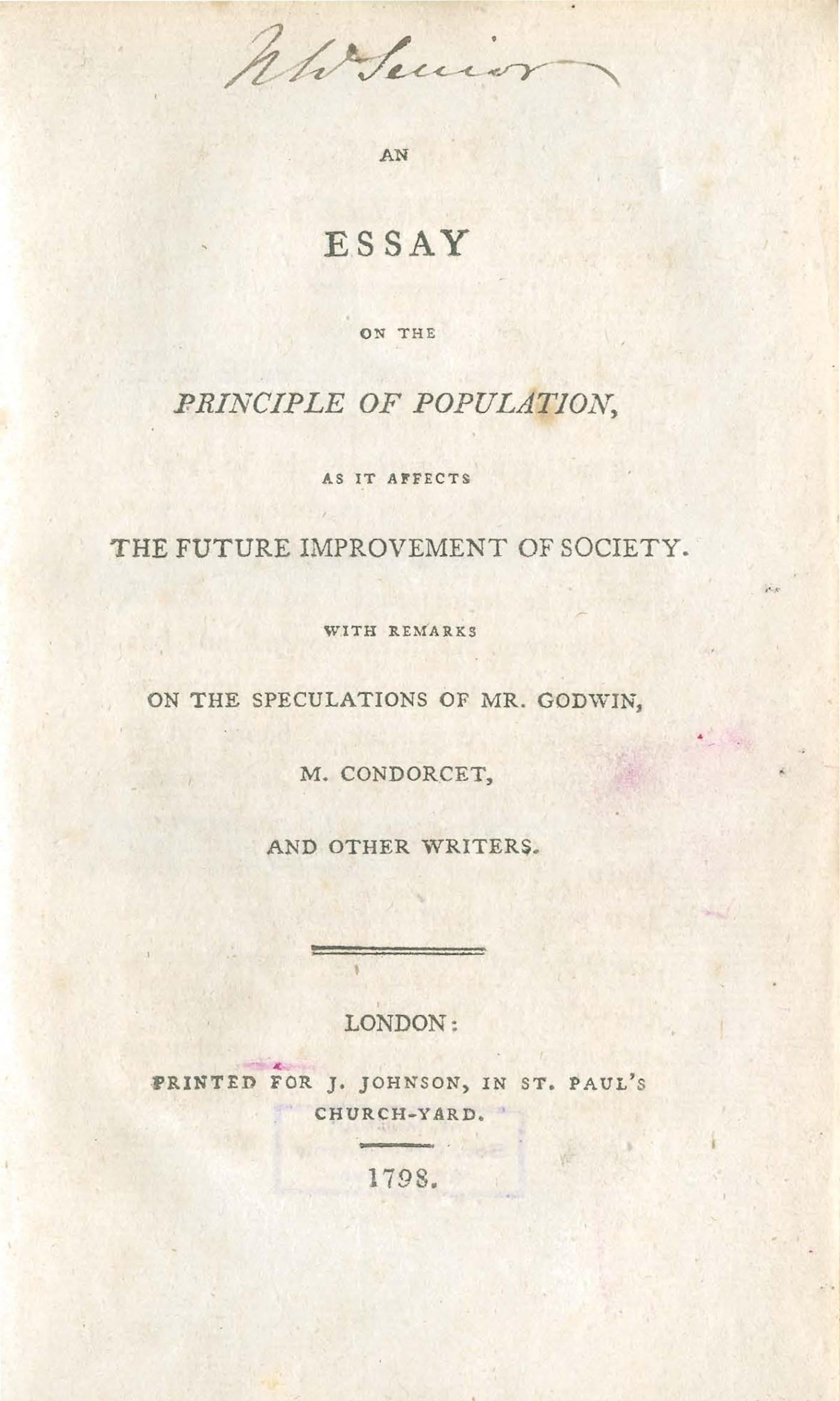 001 Essay On The Principle Of Population Singular Malthus Sparknotes Thomas Main Idea 1400