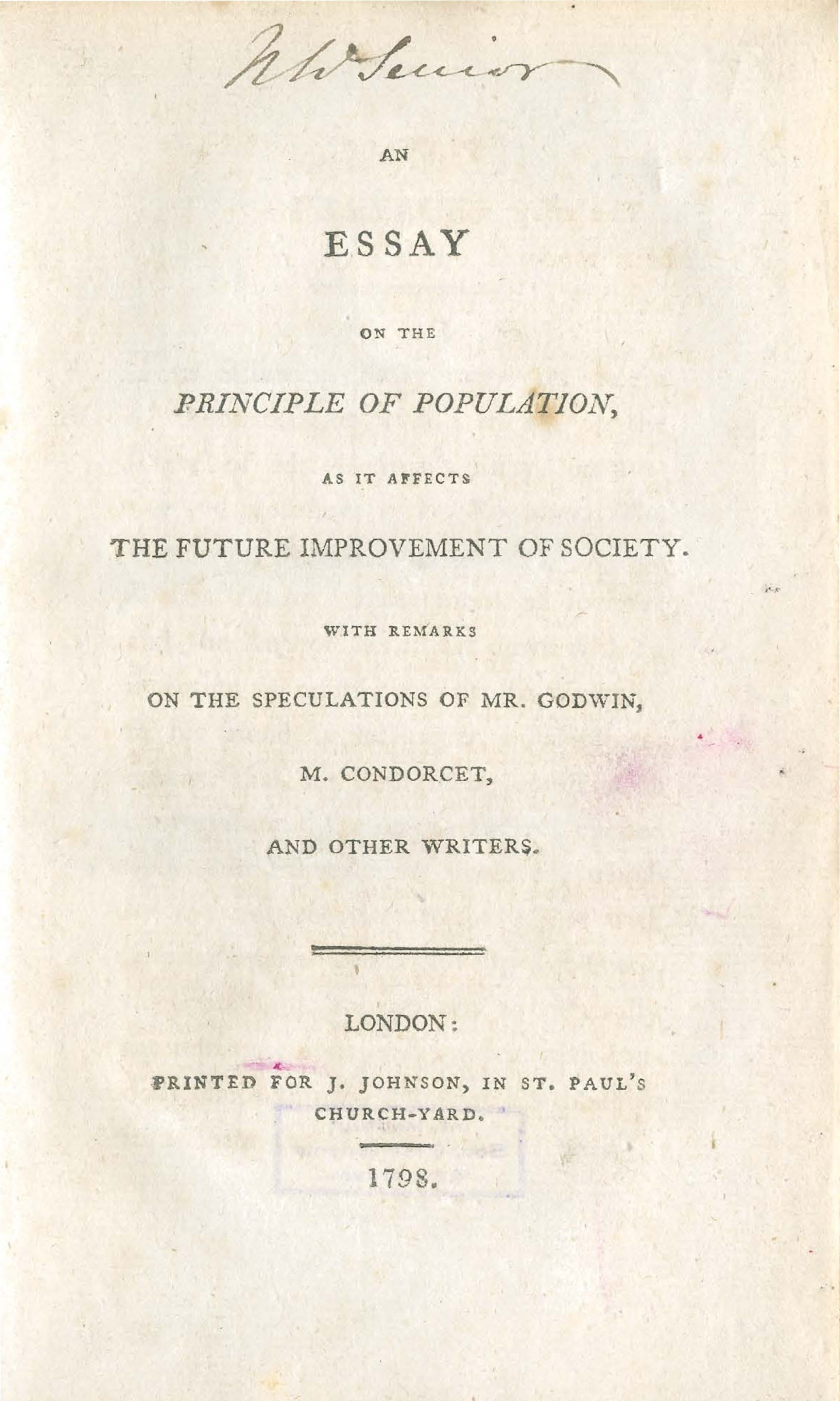 001 Essay On The Principle Of Population Singular Thomas Malthus Sparknotes Advocated Ap Euro 1920