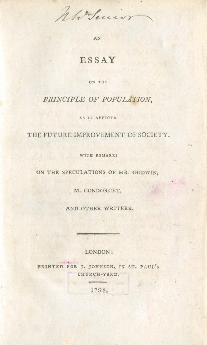 001 Essay On The Principle Of Population Singular Malthus Sparknotes Thomas Main Idea 728