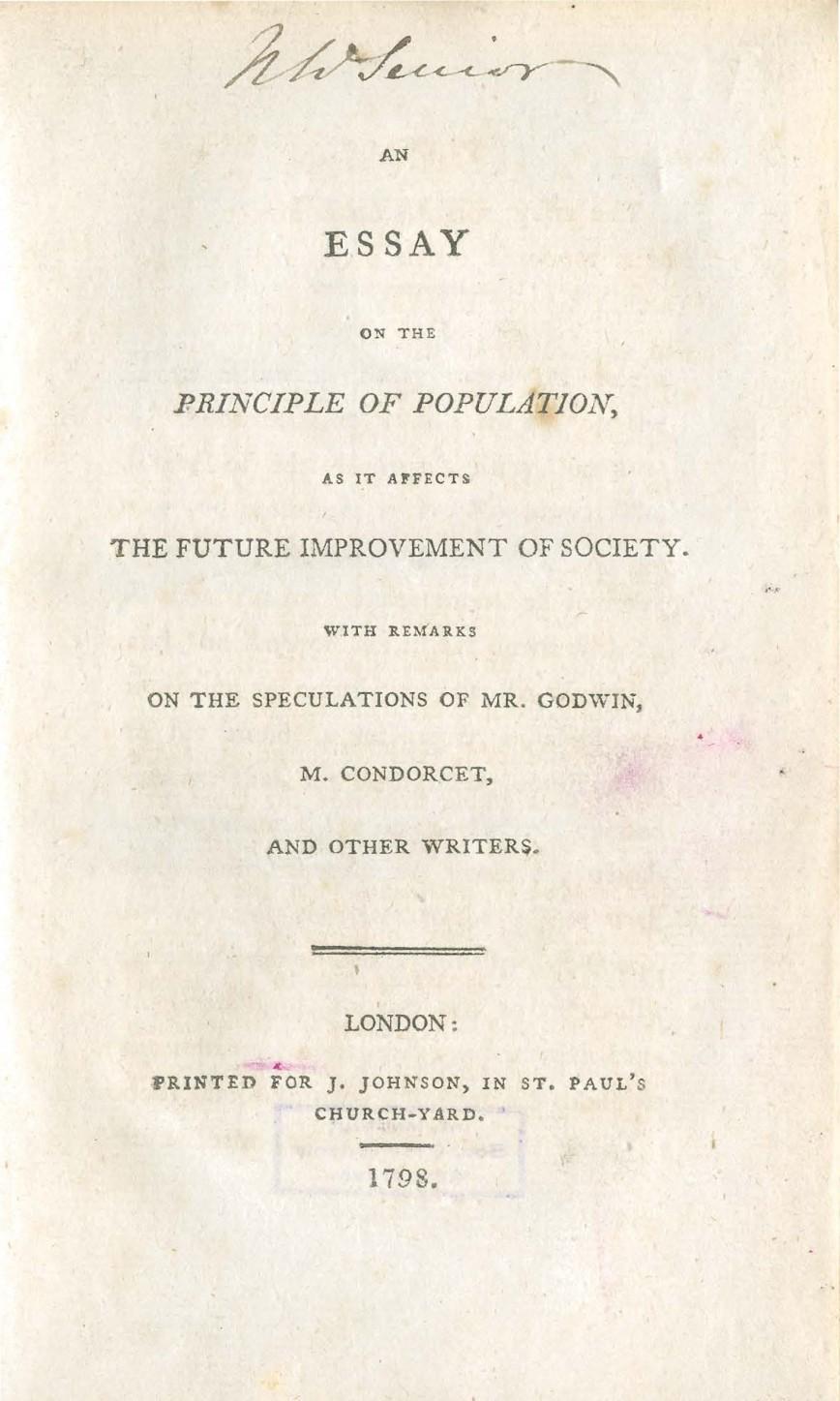 001 Essay On The Principle Of Population Singular Malthus Sparknotes Thomas Main Idea 868