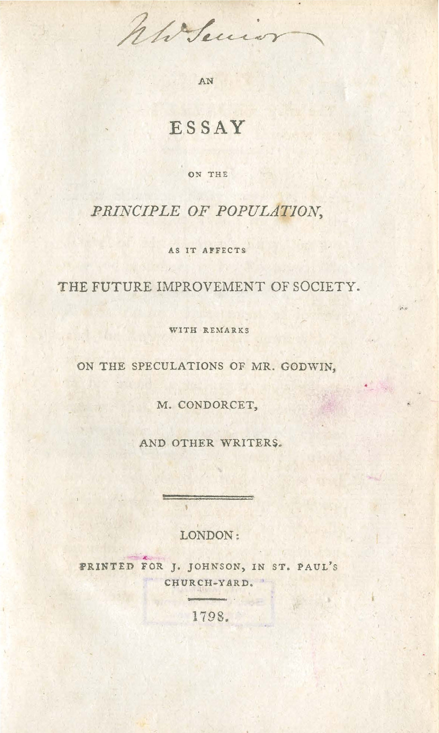 001 Essay On The Principle Of Population Singular Pdf By Thomas Malthus Main Idea Full