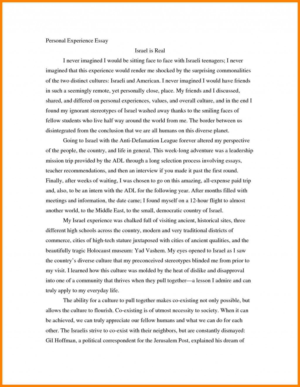 001 Essaye Personal Experience Bunch Ideas Of Writing Sample College Essays Charminges Fearsome Essay Narrative Example Prompts Large