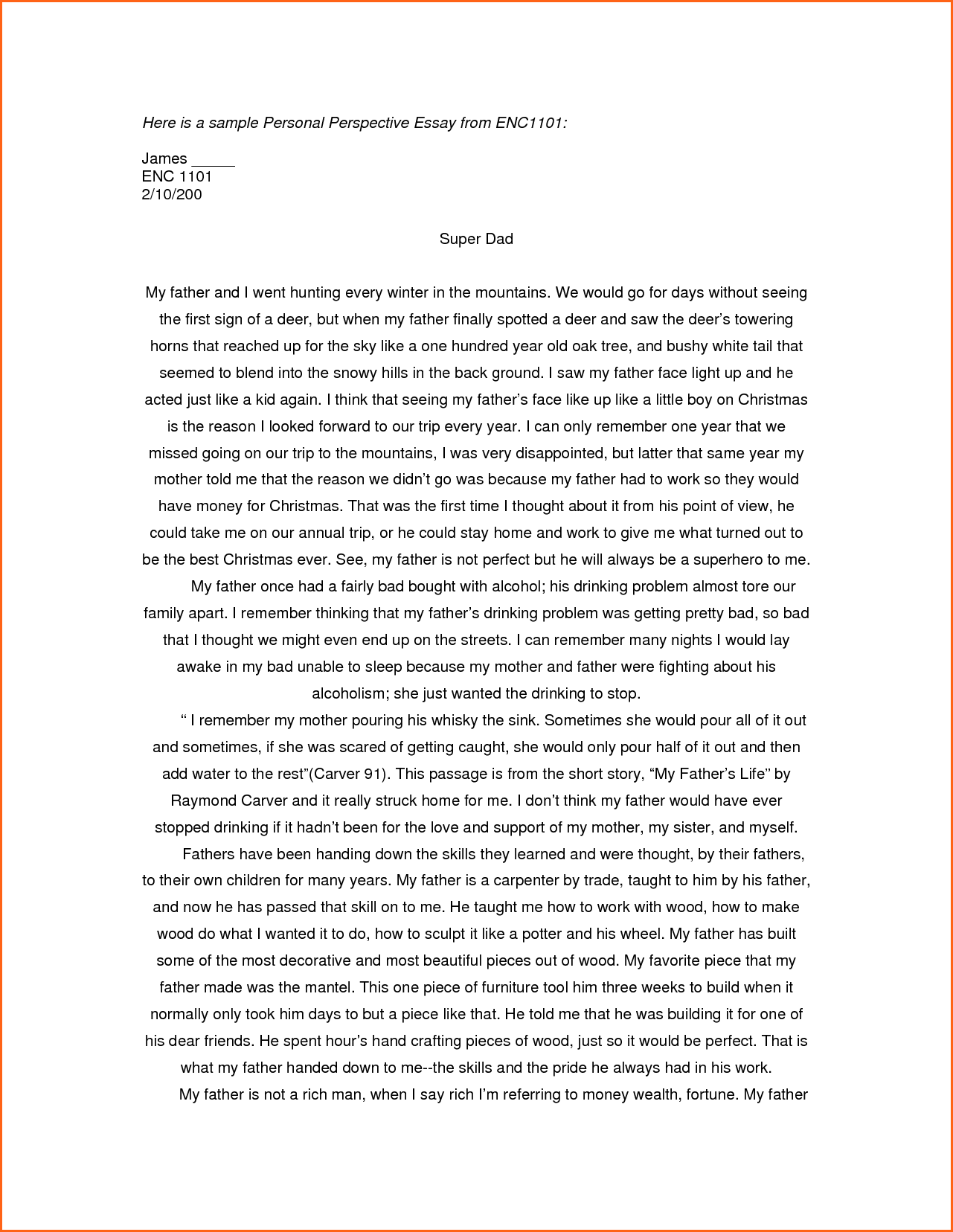 rice essay perspective