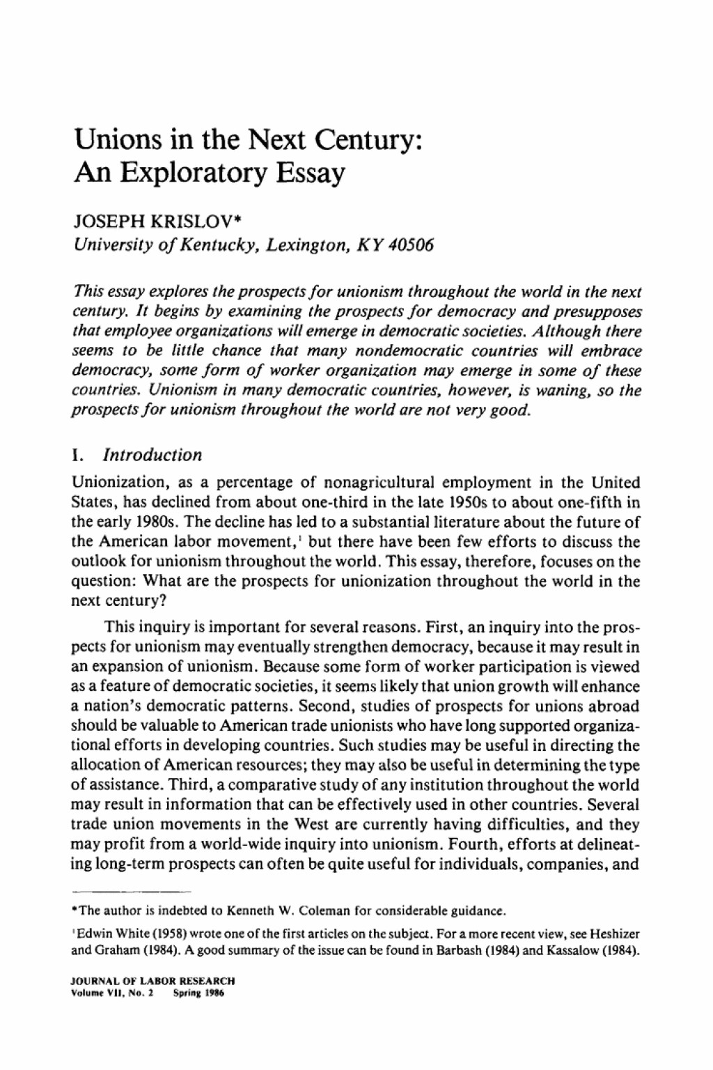 001 Exploratory Essay Example Unions In The Next Century An Springer L Stunning Thesis Fun Topics Sample Pdf Large