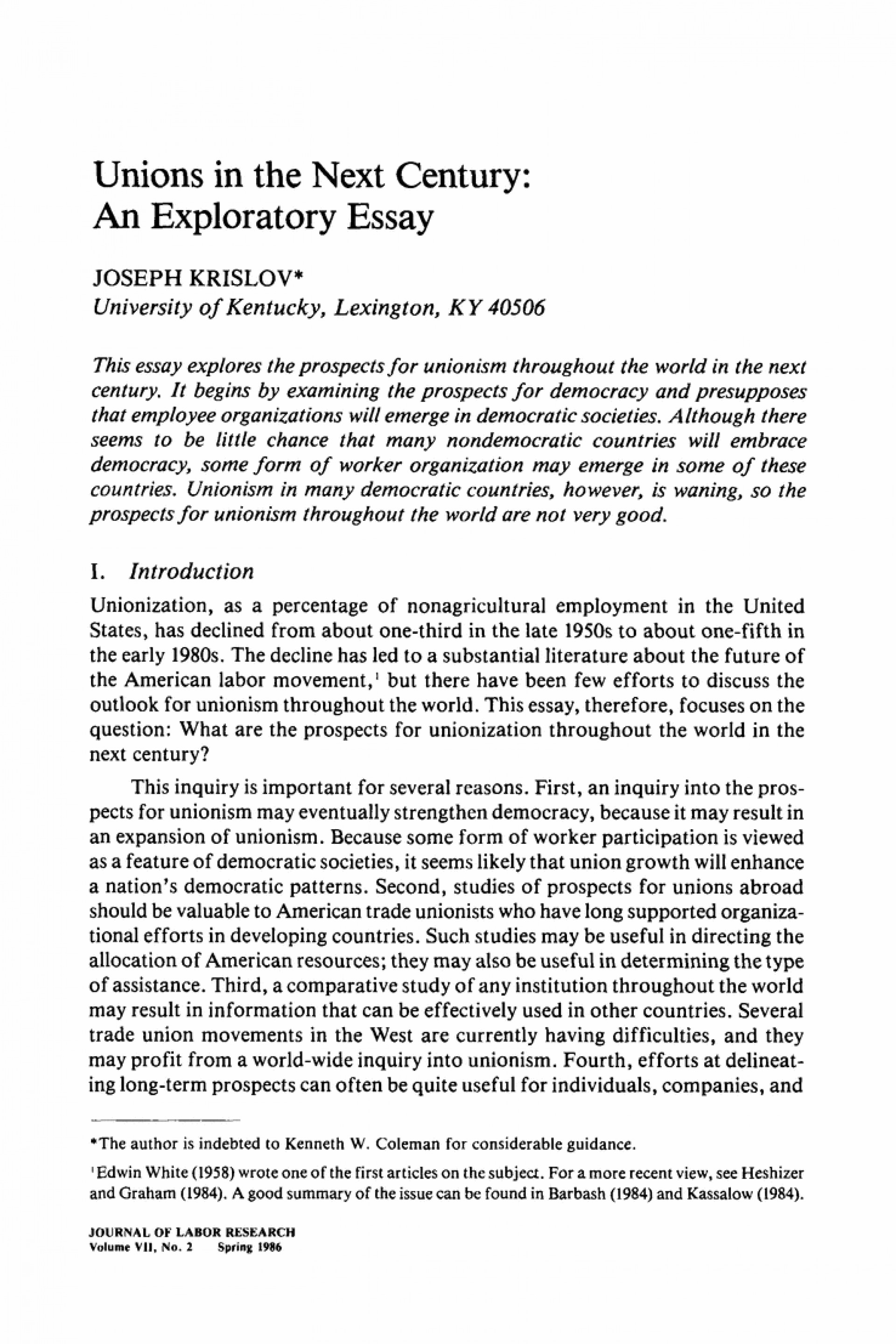 001 Exploratory Essay Example Unions In The Next Century An Springer L Stunning Definition Topics About Sports Sample Pdf 1920