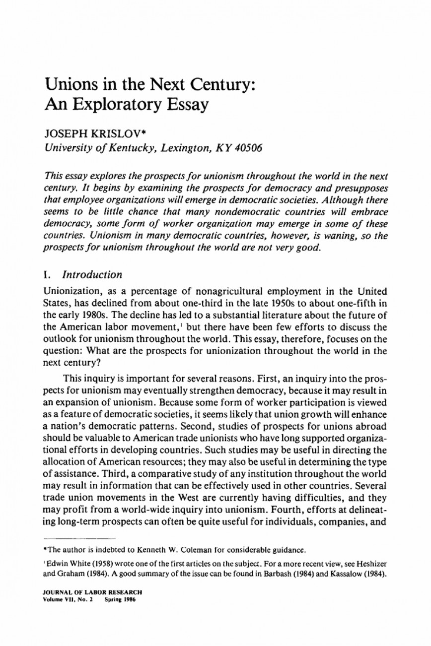 001 Exploratory Essay Example Unions In The Next Century An Springer L Stunning Unique Topics Ideas