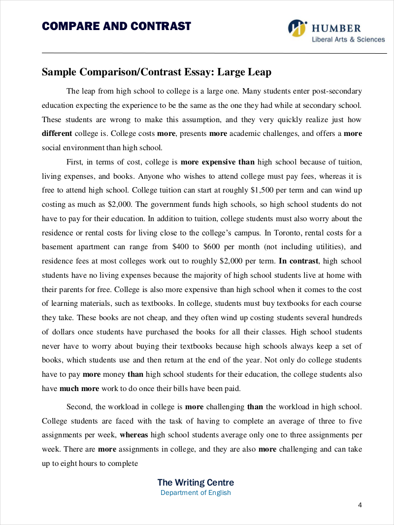 Compare and contrast essays for high school