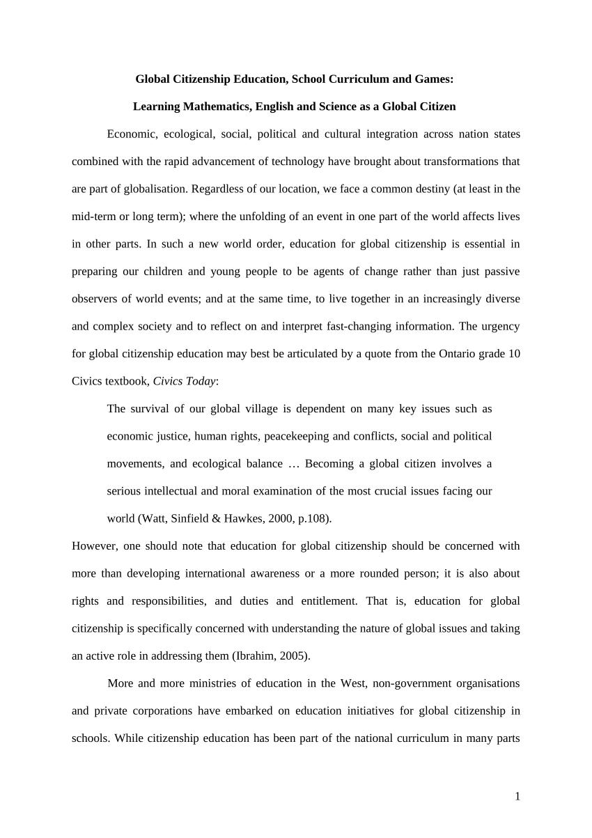 001 Global Citizen Essay Examples Example Unique Full