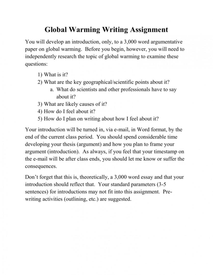 001 Global Warming Argumentative Essay 008776795 1 Excellent Topics