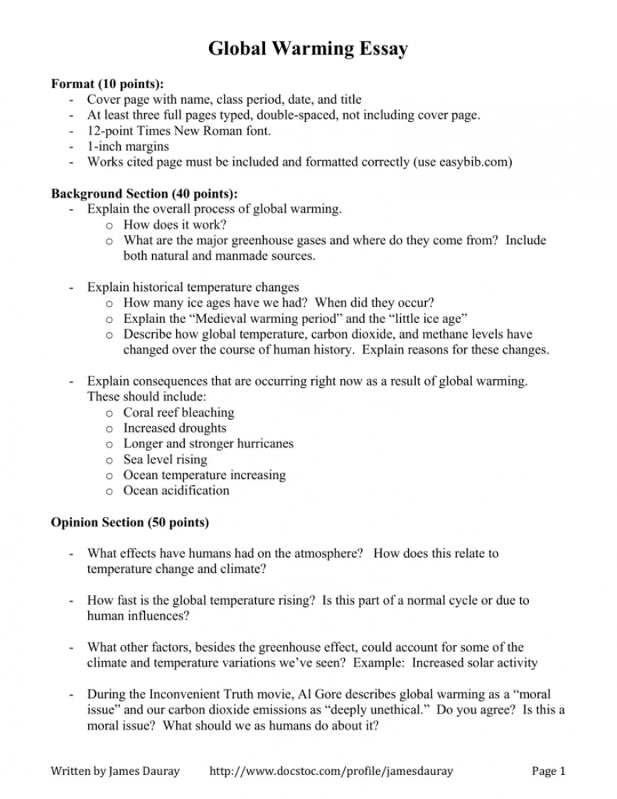 001 Global Warming Essay Example 007014108 1 Unusual Hook Conclusion Outline 868