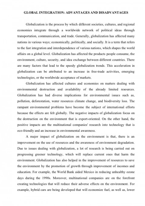 001 Globalization Conclusion Essay Example Essayglobalization Phpapp02 Thumbnail Wonderful 480