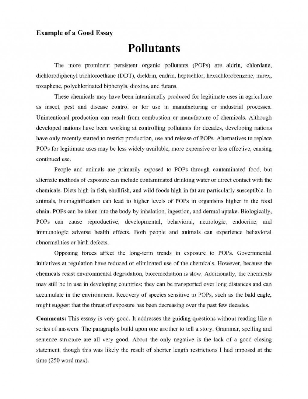 001 Good Essays Fascinating Essay Examples University Explanatory For Middle School Introduction Large