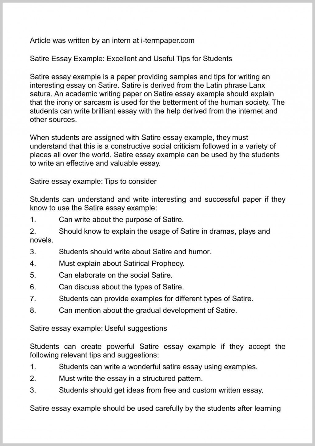 001 Good Satire Essays Of Topics Satirical Exceptional Essay Examples On Social Media Issues Large